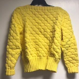 Sweaters - Handmade Knit/Crochet Bright Yellow Sweater